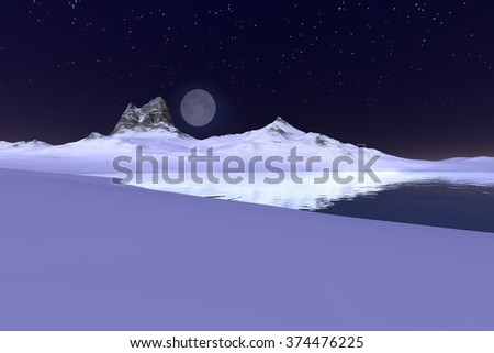 Winter night, a polar landscape,  a beautiful sky with moon and stars above the snowy mountain..