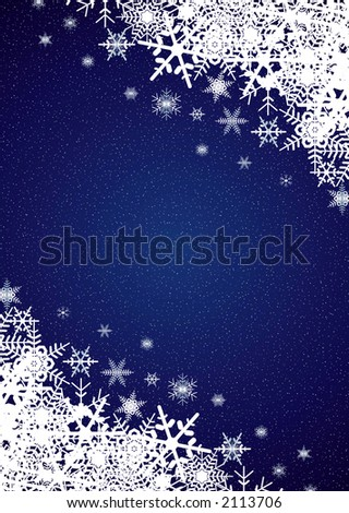 Winter night snowfall scene - stock photo