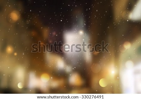 Winter night street, blurred background for christmas and new year design