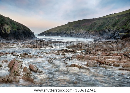 Winter on the beach at Port Quin on the north coast of Cornwall - stock photo