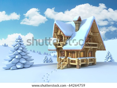 winter or Christmas scene - log house in a mountain - stock photo