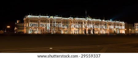Winter palace in Saint-Petersburg, Russia by night - stock photo
