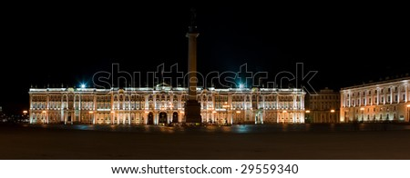Winter palace in Saint-Petersburg, Russia by night