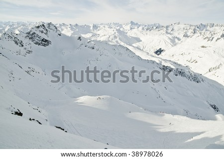 winter panorama in the Swiss alps - stock photo
