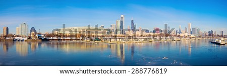 Winter panorama of Chicago from frozen marina. Chicago, Illinois, USA. - stock photo