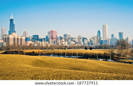 Winter panorama of Chicago, IL. - stock photo