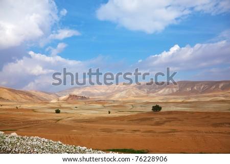 Winter panorama of desert Sinai. Early morning, sunrise - stock photo