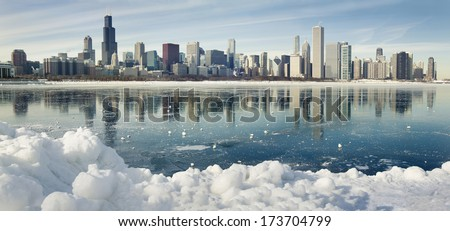 Winter panorama of frozen Chicago.