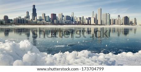 Winter panorama of frozen Chicago. - stock photo