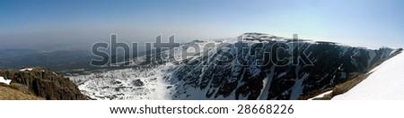 Winter panorama of Krkonose mountains, Czech Republic - stock photo