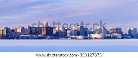 Winter panorama of Madison. Madison, Wisconsin, USA - stock photo