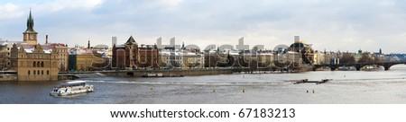 Winter panorama of Prague. View from Charles Bridge. - stock photo