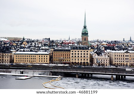 Winter panorama of Stockholm, Sweden - stock photo