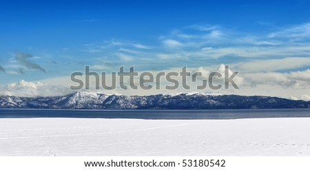 Winter panorama of Tahoe lake on a sunny day. - stock photo