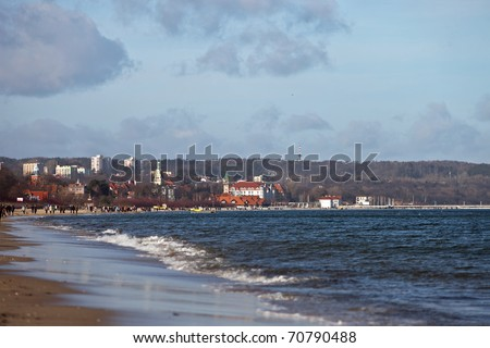 Winter panorama of the beach in Sopot, Poland. - stock photo