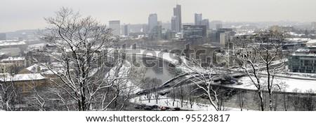 Winter panorama of Vilnius - capital of Lithuania - stock photo