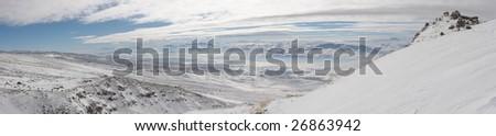 Winter panoramic image from Mount Ararat ascent - stock photo
