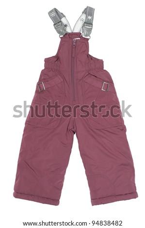 Winter pants on white background - stock photo
