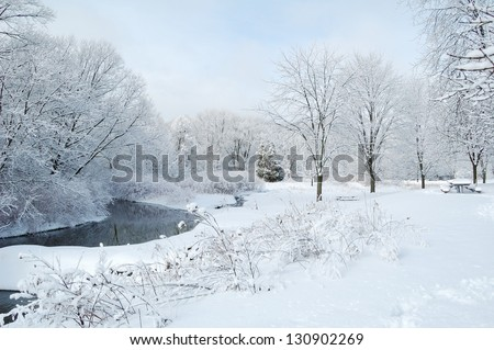 Winter park and river - stock photo