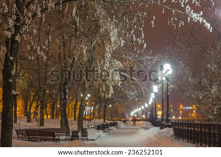 Winter park in the evening covered snow with a row of lamps - stock photo