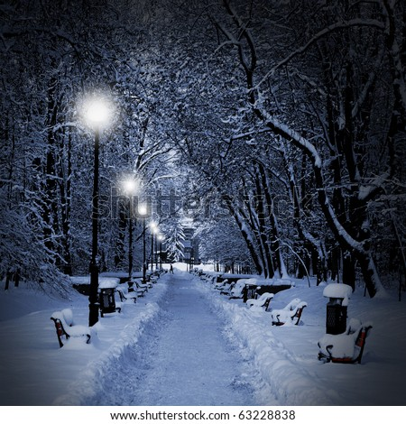 Winter park in the evening covered with snow with a row of lamps - stock photo