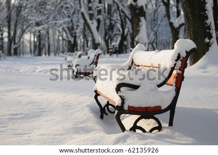 Winter park with red benches covered with snow - stock photo