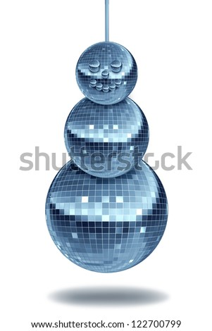 Winter party with holiday dance music symbol with night disco balls as a mirror sphere in the shape of a snowman for festive fun and new year dancing celebrations in a nightclub or club on white. - stock photo