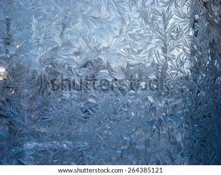 Winter patterns on the window. Nizhni Novgorod - stock photo