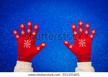 Winter People Hands Red Gloves Snow Snowy Blue Sky Background