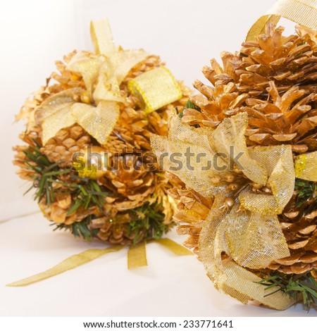 winter pinecones brilliant - stock photo