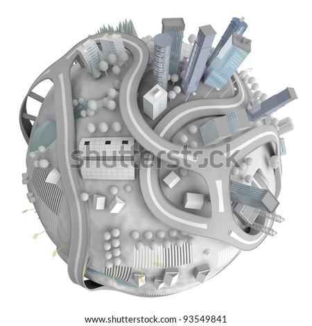 Winter planet town isolated on white - stock photo