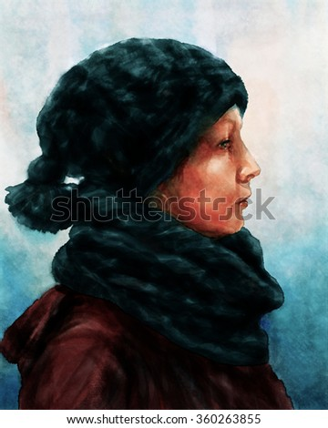 Winter portrait of a woman Watercolor style portrait of a woman, dressed in winter clothes.