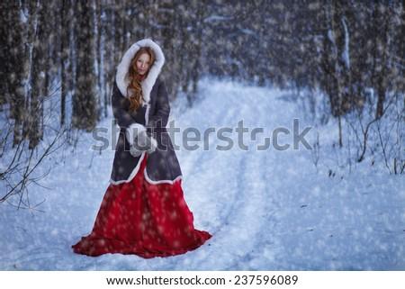 Winter Portrait of beautiful girl - stock photo