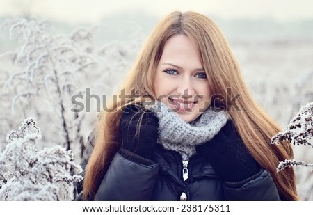 Winter portrait of beautiful girl