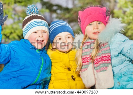 Winter portrait of little kids group  - stock photo