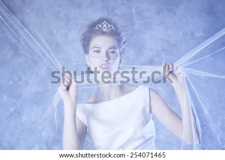 Winter Queen, beautiful girl in winter. - stock photo