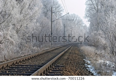 winter railroad - stock photo