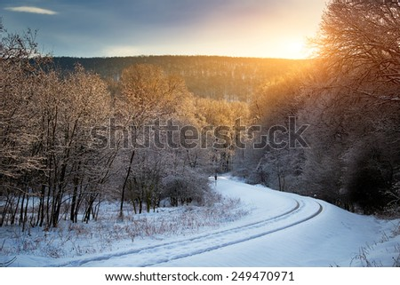 Winter railway - stock photo