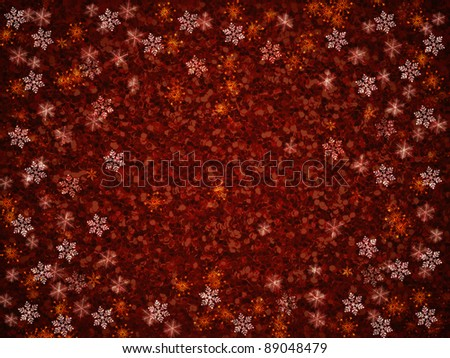 Winter red christmas background with snowflakes - stock photo