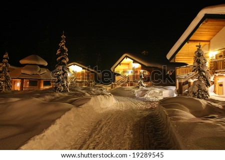 Winter Resort Chalets - stock photo