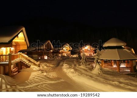 Winter Resort Community at Night - stock photo