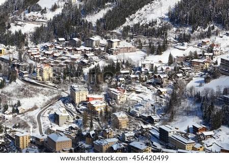 Winter resort in Austria - Bad Gastein in High Tauern (Hohe Tauern) mountain range in Alps. - stock photo