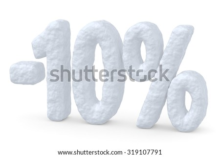 Winter retail, sale, commercial and business advertisement creative abstract concept, christmas sale discount offer, snowy special 10 percent price cut off text made of snow isolated on white - stock photo