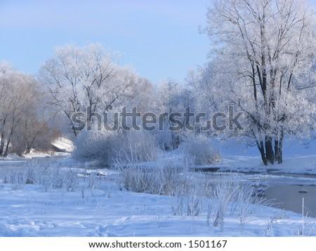Winter river - stock photo