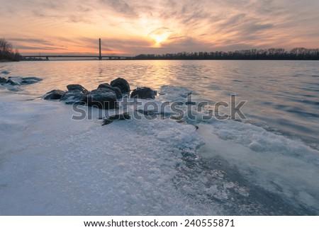 Winter river bank. Dniepr river. Kiev. Ukraine - stock photo