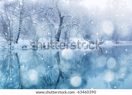 winter river in snowfall