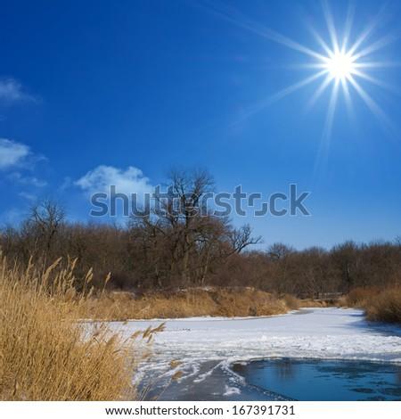 winter river scene - stock photo