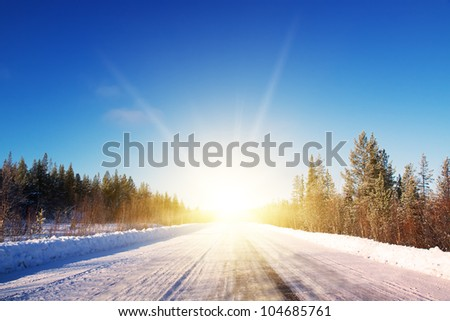 Winter road in deep forest. Sunny frosty january. Noth Mountines. Murmansk. - stock photo