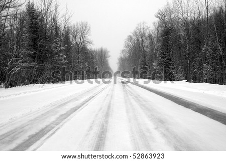 Winter Road In Rural Canada - stock photo