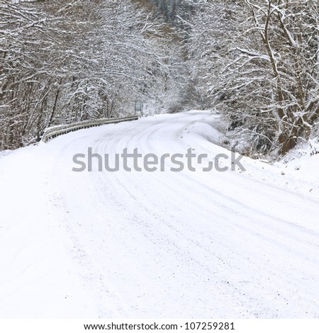 Winter road in snowy forest - stock photo